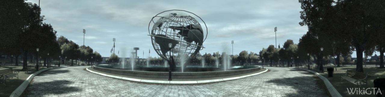 The Monoglobe with the Liberty State Pavillion Towers in the background.