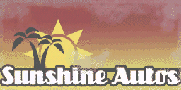 Het logo van Sunshine Autos in 1986