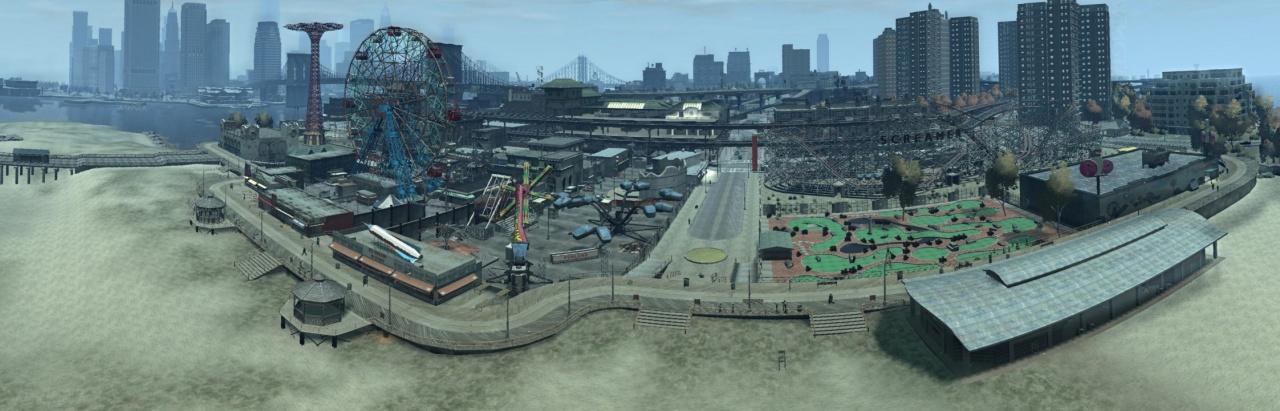 Panorama van Funland pretpark  met links op de achtergrond de skyline van Algonquin.