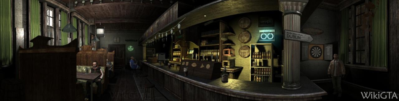 Het interieur van Steinway Beer Garden.