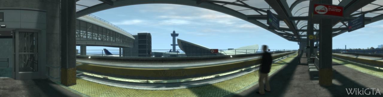 Metrostation Francis International Airport met op de achtergrond het vliegveld.